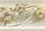 wandmotiv24 Fototapete Goldene Blüten XXL 400 x 280 cm - 8 Teile Fototapeten, Wandbild, Motivtapeten, Vlies-Tapeten Ornamente, Blumen, Ranken M1858