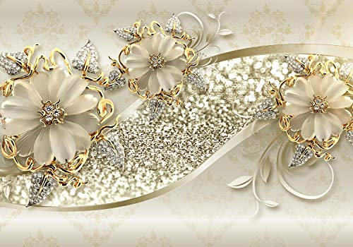 wandmotiv24 Fototapete Goldene Blüten , XXL 400 x 280 cm - 8 Teile, Fototapeten, Wandbild, Motivtapeten, Vlies-Tapeten, Ornamente, Blumen, Ranken M1858
