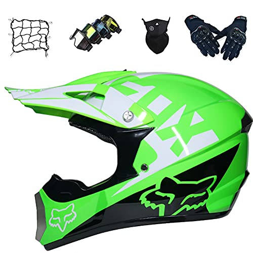 Aidasone Casco completo de MTB para niños, casco de motocross con gafas/guantes/máscara/red de bungy, unisex Dirt Quad Bike Cross casco – con diseño FOX, verde, L