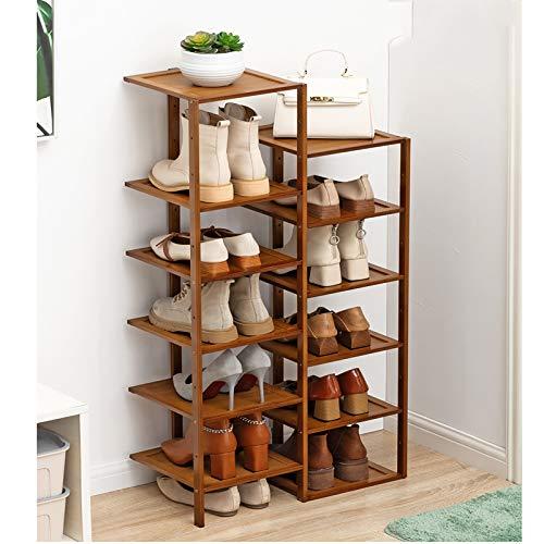 Doble Fila Rack De Zapatos De Bambú,Ahorro De Espacio Estante De Almacenamiento De Rack De Zapatos De Pie Gratis,Apilable Torre De Zapatos De Entrada Para Zapatos,Libros,Macetas-Marrón 12 niveles 52x2