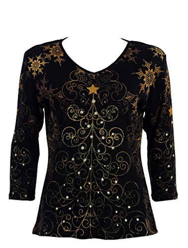 Jess & Jane Christmas Star 3/4 Sleeve V Neck Women's Shirt