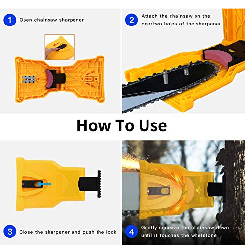 wellead Chainsaw Sharpener, Portable Chainsaw Teeth Sharpener with 4 Pcs Fast-Sharpening Stone Grinder Tools Chain Saw Blade Sharpener for 14/16/18/20 Inches One/Two Holes Chain Saw Bar