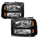 JSBOYAT Headlight Assembly Replacement for 2005-2007 Ford F250 F350 F450 F550 Super Duty/2005 Ford Excursion Driver Passenger Side