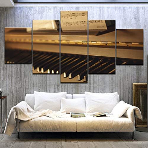 GHTAWXJ 5 Paneles Lienzo Modular Moderno HD Impresiones Música Imágenes Piano Keys Pinturas Sala de Estar Decoración del hogar