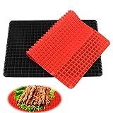 Set di 2 tappetini in silicone, tappetino riutilizzabile, tappetino con struttura a piramide, tappetino in carta da forno in silicone, resistente al calore, sicuro per alimenti, nero e rosso.
