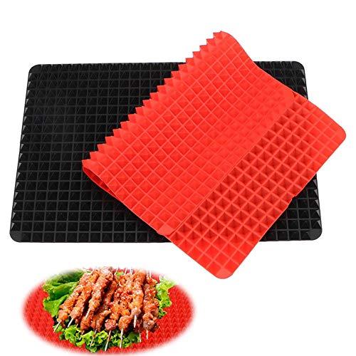 2er-Set Silikon-Backmatten,Wiederverwendbare Backunterlage, Backmatte mit Pyramiden Struktur 40x28cm Silikon Backpapier Backunterlage, Hitzebeständig 240°C,Lebensmittelecht (Schwarz und Rot)