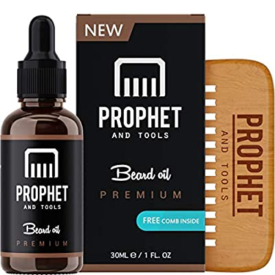 Premium Unscented Beard Oil and Comb Kit for Thicker Facial Hair Grooming - The All-in-One Conditioner, Softener, Shine and Fuller Beards & Mustache Growth - Nuts-Free & Vegan! Prophet and Tools from Prophet and Tools