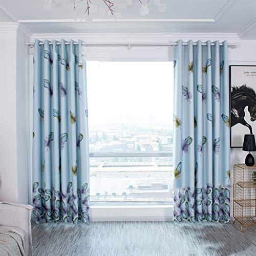 XuBa Veer Patroon afdrukken schaduw venster gordijn met opknoping gaten