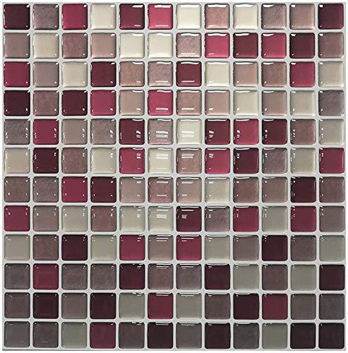 XIAOTIAN 23.6x23.6cm, Pegatinas de Azulejos de Pared 3D para baño de Cocina, Fondo de Pantalla a Prueba de Agua Autoadhesivo a Prueba de Agua (Color : A, Size : 10Pcs)
