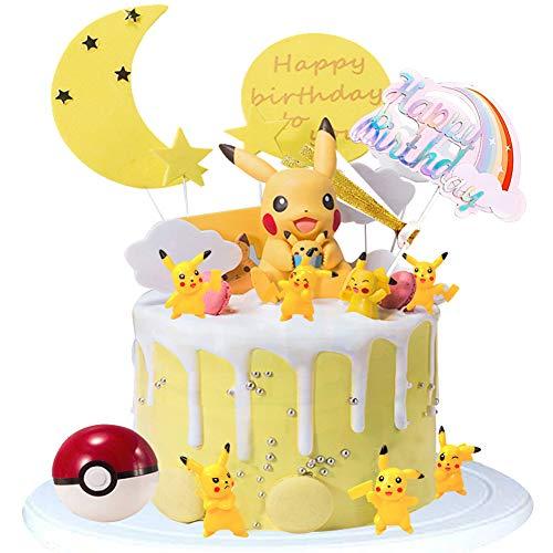 WENTS Tortendeko Geburtstag - Miotlsy 10PCS Pokémon Tortendeko Geburtstags Cake Topper mit Pikachu Figuren Party Kuchen Dekoration Lieferunge für Kinder Geburtstag Baby Mädchen Junge