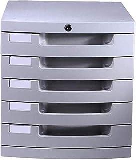 Armoire de bureau mobile à 5 tiroirs - Boîte de rangement de données - Verrouillage à clé - Armoire de bureau en plastique...