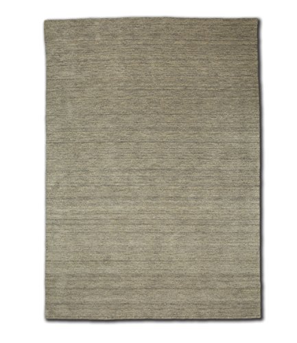 Morgenland Gabbeh Teppich Silber UNI Einfarbig Handgewebt Schurwolle 60 x 40 cm Fußmatte
