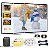 Projector Screen 100 Inch, Portable Projector Screen with 16:9 HD 4K Screen for School Home Theatre Cinema,...