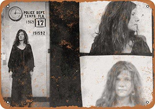Wall-Color 10 x 14 Metal Sign - 1969 Janis Joplin Mug Shot - Vintage Look