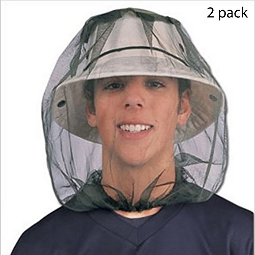 CSDSTORE Cabeza de Insecto Malla de Malla Máscara Protectora Máscara antimosquitos de Abeja Insecto Mosca Gorra con Cabeza Malla de Red Protección Facial Equipo de Pesca al Aire Libre (Paquete de 2)
