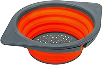 Runtodo Ollapsible Sieve, Storage Basket for Fruit/Vegetables, Folding Net with Durable Stands, Orange