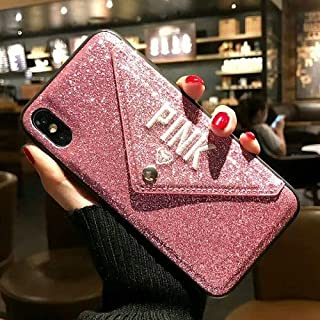 1 PC Luxury Pink Glitter Embroidery Leather Fashion Hot Cute Pink Case for iPhone 7 Plus 7+ 8 Plus 6 6s Plus X Phone Secret (Pink, iPhone 7 8 Plus)