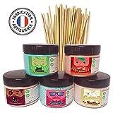 AVAGE - Sucre Barbe A Papa KIT Pour Machine Enfant et Professionnel. 4 Pots + 1 Nouveau OFFERT Parfum:Fraise Cola Vanille Pomme Framboise (1,250Kg)+ 50 Bâtonnets gratuits Barbapapa & baton