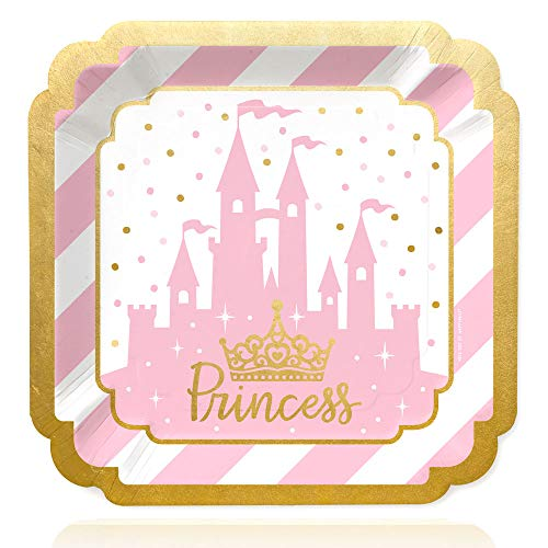Big Dot of Happiness Little Princess Crown with Gold Foil - Pink and Gold Princess Baby Shower or Birthday Party Dinner Plates (16 Count)