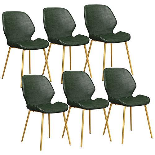 YAWEDA Sillas Comedor Conjunto de 6 con Patas Metal Asiento y respaldos de Cuero de PU Clásico Sillas Cocina for Salón Ocio Sala Sillas Esquina (Color : Dark Green, Size : Golden Legs)