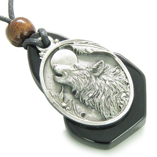 Magic Howling Wolf Head Unique Black Agate Spiritual Protection Amulet Pendant Necklace