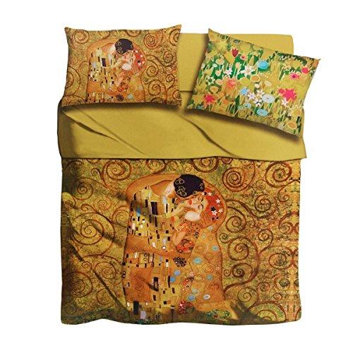 Completo lenzuola Il bacio di Klimt I Love Sleeping digitale Matrimoniale Q951
