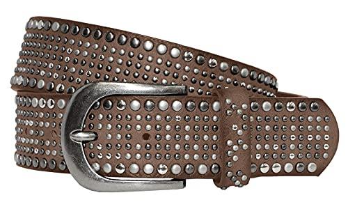 Fashion Damen Gürtel - Vintage Gürtel - Teilleder Nietengürtel in 15 Farben - Schlamm Länge 95 cm