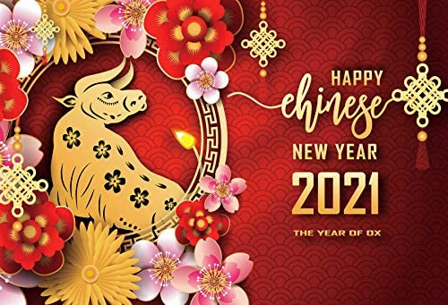 DORCEV 12x10ft Happy Chinese New Year Backdrop 2021 The Year of Ox Family Party Background Chinese Flowers Paper Cut Ox Traditiional Spring Festival Party Photography Props
