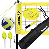 Patiassy Professional Volleyball Set - Includes Portable Outdoor Volleyball Net with Adjustable Height Aluminum Poles, Winch System, Volleyball with Pump and Carry Bag for Beach, Backyard (Yellow)