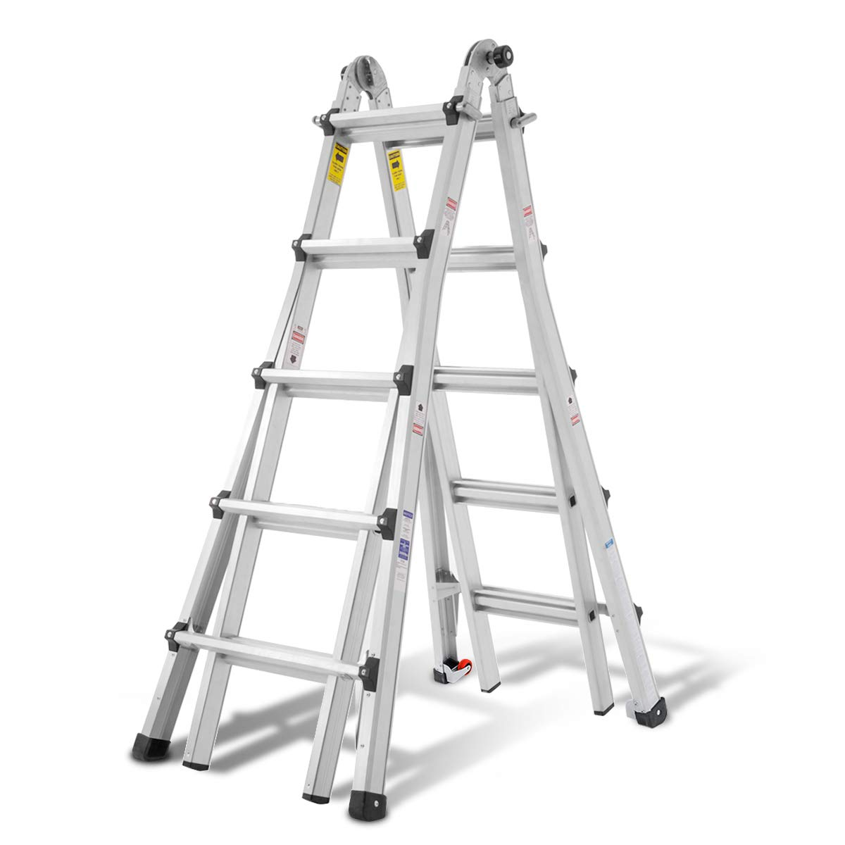 Amazon Com Orientools Aluminum Extension Ladder 300 Lb Duty Rating Load Capacity Type Ia Model 22 Foot Durable And Multi Purpose Ladder With Two Wheels Home Kitchen