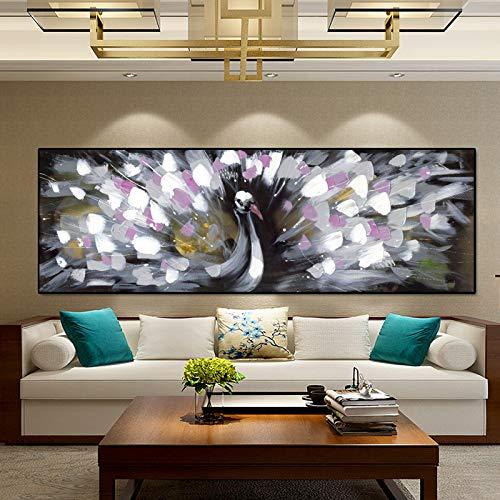 SQSHBBC Abstrakte Tier Ölgemälde Poster und Drucke Wandkunst Leinwand Malerei Pfau Eröffnung Bilder für Wohnzimmer Decor60x180 cm Kein Rahmen