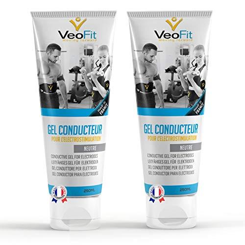 VeoFit- Gel Conductor 250mL X 2 Electrodos Electroestimulacion EMS y TENS, Gel de Contacto para Electroestimulador Muscular- Mejora el Contacto electrodos y Protege la Piel - Fabricado en Francia