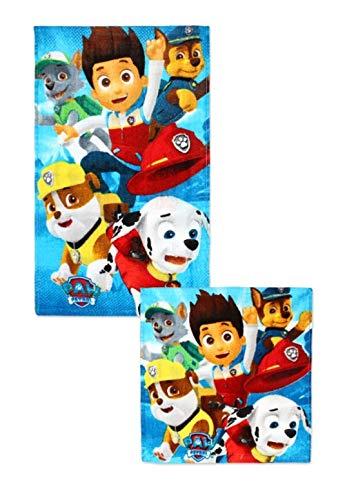 Theonoi 2 Teile - Kinder Handtuch Set – wählbar: Paw Frozen Ladybug Thomas Spiderman – 100% Baumwolle - Handtuch/Gesichtstuch und Waschlappen (Paw l)