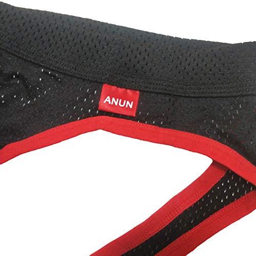 ANUN Men's Mesh Low-Rise Jock Strap (XL, Black)