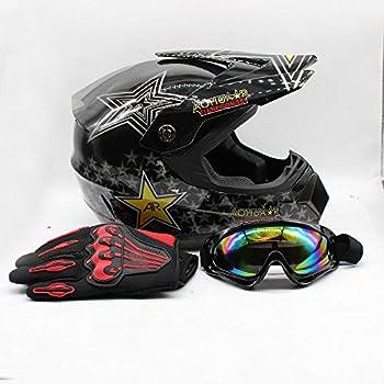 Adult Motocross Helmet Dirt Bike ATV Motorcycle Helmet Road Downhill Motorbike Full Face Helmets Gift MTB Racing Helmet Protector Muti-Color Helmet Set w/Goggles 4 Size/M