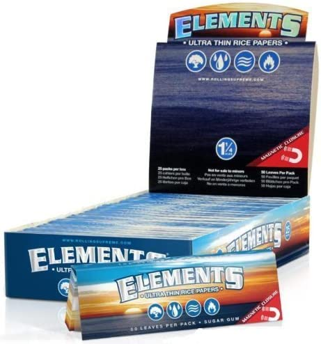 Elements 1 1/4 Size Ultra Thin Rice Rolling Paper with Magnetic Closure (10 Pack)