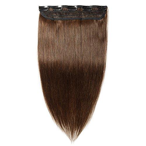 Extension Clip Capelli Veri Fascia Unica Remy Human Hair - 45cm (50g) #4 Marrone Cioccolato Lisci Naturali