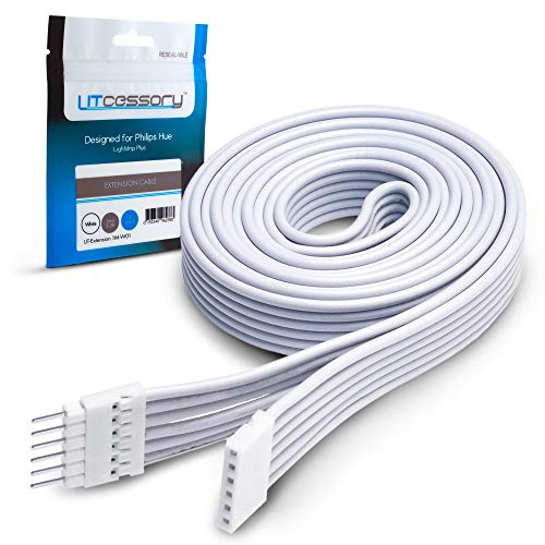 Litcessory Extension Cable for Philips Hue Lightstrip Plus (3.3ft, 1 Pack, White)