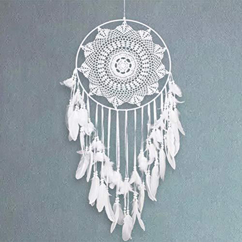 OFNMY Traumfänger in der Kultur der Ojibwe-Indianer Dreamcatcher Dekoration Boho-Stil für Auto Wand Zimmer, weiß
