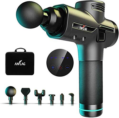 Pistola per Massaggio Muscolare Massaggiatore Portatile 30 Velocità Gun con 9 teste di massaggio per Rilassare i Muscoli (Nero)