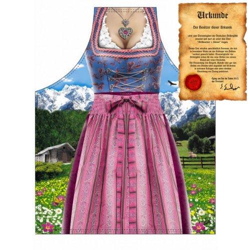 Grillschürze für Frauen - Dirndl - Tracht - Grill Koch Küchenschürze Schürze Damen Set geil Bedruckt mit GRATIS Griller Urkunde
