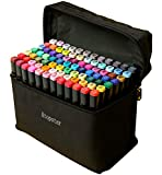 ATOPSTAR 80 Colors Alcohol Markers Artist Drawing Art Markers for Kids Dual Tip Markers for Adult Coloring Painting Supplies Perfect for Kids Boys Girls Students Adult(80 Black Shell)