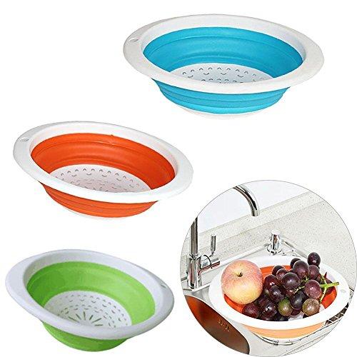 Ractable pliable propre Drainante multifonction Panier de cuisine à laver Fruits Panier de rangement, Orange, 26.5 * 20.5 * 8.5 cm approx