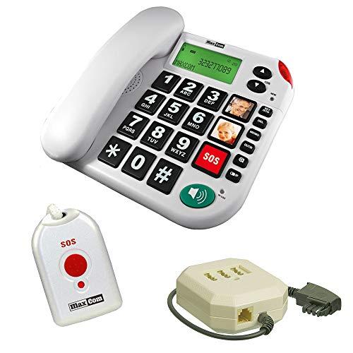 Senioren-Notruf-Telefon mit Notruf-Sender und Adapterstecker