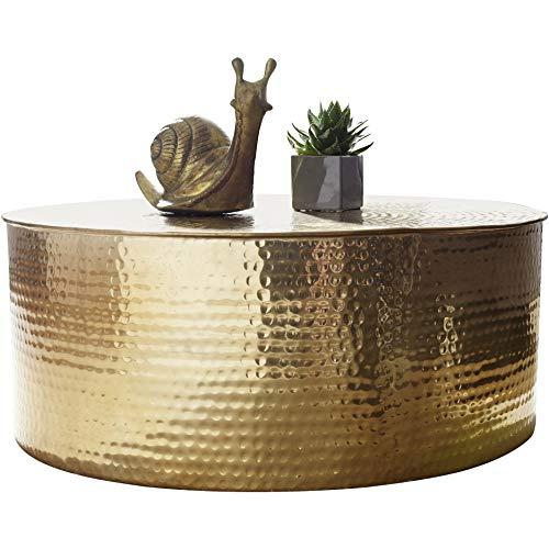 FineBuy Couchtisch Rahim 75 x 31 x 75 cm Aluminium Beistelltisch Gold orientalisch rund | Flacher Hammerschlag Sofatisch Metall | Design Wohnzimmertisch modern | Loungetisch indisch Stubentisch klein