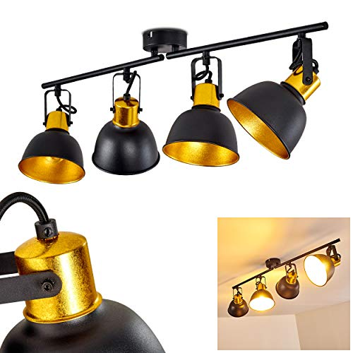 Deckenleuchte Borik, Deckenlampe aus Metall in Schwarz/Gold, 4-flammig, mit verstellbaren Strahlern, 4 x E14-Fassung max. 25 Watt, Spot im Retro/Vintage Design, für LED Leuchtmittel geeignet