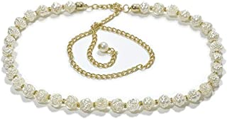 Fashion decorative shell waist chain thin belt New ladies pearl waist chain (Color : 03, Size : 115cm)