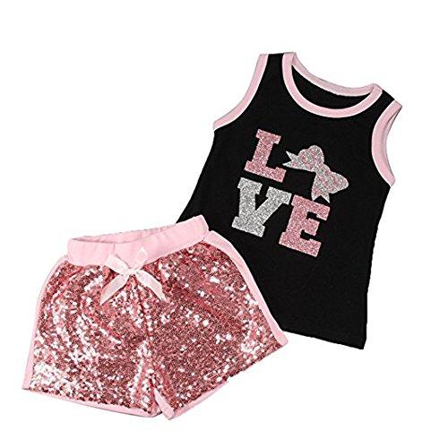 Winmany - Camiseta - para bebé niña Black+Pink