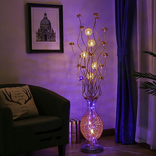 Staande lamp daglicht & staande lamp LED glas gevlochten zilverdraad en staande lamp gemaakt van aluminium met zwarte roos