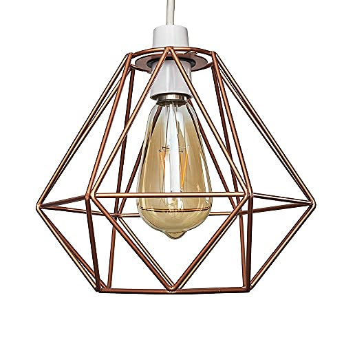Moderna Pantalla Lampara Techo - Estilo Jaula Geométrica Colgante - Metal en Cobre - Iluminación Interior